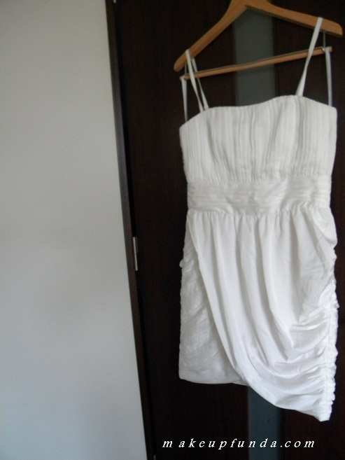 H&M White Draped Dress