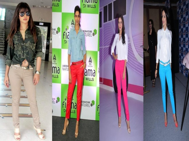 Indian Celebrities in Colored Jeans